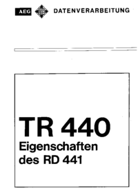 Service and User Manual AEG System TR 440
