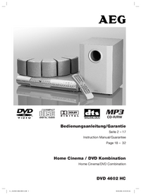 Руководство пользователя AEG DVD 4602 HC