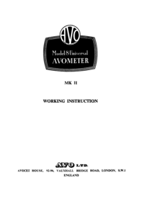 Serwis i User Manual AVO Model 8 MK II