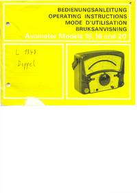 Serwis i User Manual AVO Avometer 16