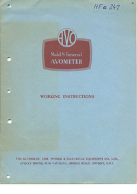 Service and User Manual AVO Avometer 8