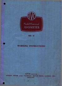 Servizio e manuale utente AVO AVOMETER Mk II
