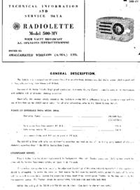 Service Manual AWA Radiolette 500-MY