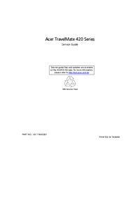 Руководство по техническому обслуживанию Acer TravelMate 420 Series