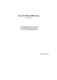 Service Manual Acer TravelMate 8100 Series