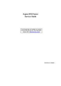 Manual de serviço Acer Aspire 6920 Series