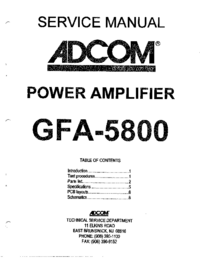 Service Manual Adcom GFA-5800