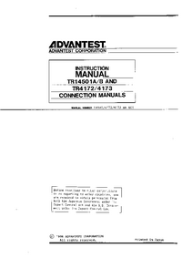 User Manual Advantest TR14501A