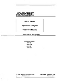 User Manual Advantest R4131CN