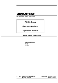 Manuale d'uso Advantest R3131A