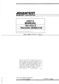 User Manual Advantest TR4153A