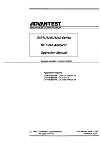User Manual Advantest U4941PHS