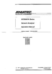 User Manual Advantest R3765BH