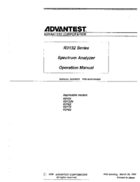 User Manual Advantest R3132N