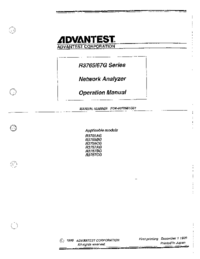 User Manual Advantest R3765CG