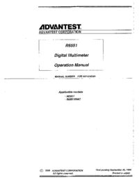 User Manual Advantest R6551