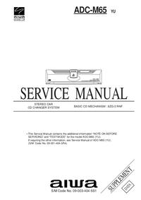Руководство по техническому обслуживанию дополнения Aiwa ADC-M65 YU