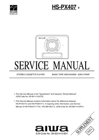Service Manual Supplement Aiwa HS-PX407 Y