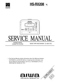 Suplemento Manual de servicio Aiwa HS-RX208 YL