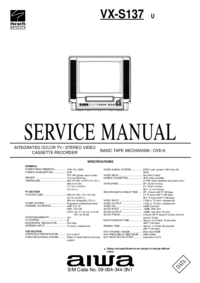 Руководство по техническому обслуживанию Aiwa VX-S137 U