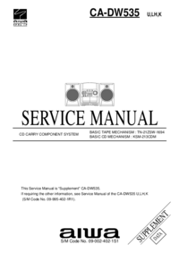 Service Manual Supplement Aiwa CA-DW535 K