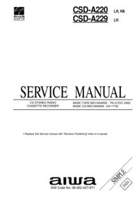 Руководство по техническому обслуживанию Aiwa CSD-A220 HA, LH