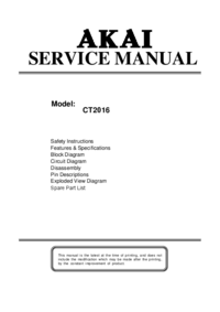 Service Manual Akai CT2016