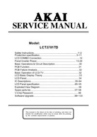 Manual de servicio Akai LCT2701TD