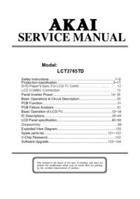 manuel de réparation Akai LCT2765TD