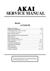 manuel de réparation Akai LCT3201TD