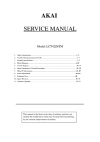 Manual de servicio Akai LCT42Z6TM
