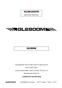 Руководство по техническому обслуживанию Allen GL2800M