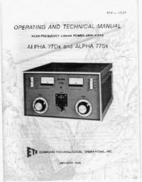 Service and User Manual Alpha ALPHA 77Dx
