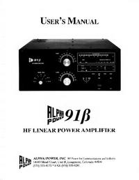 Servicio y Manual del usuario Alpha Alpha 91ß