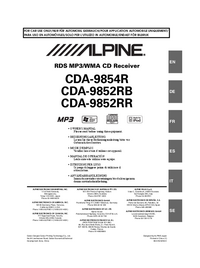 User Manual Alpine CDA-9854R