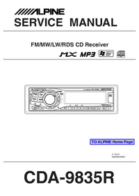 Alpine cda-9835 cd/mp3/wma receiver with cd changer controls at.