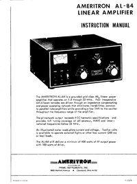 User Manual Ameritron AL-84
