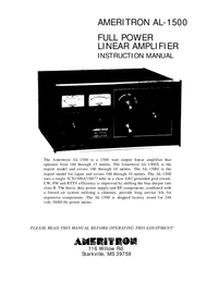 Service and User Manual Ameritron AL-1500