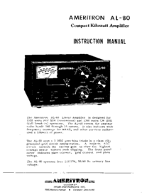 Service and User Manual Ameritron AL-80