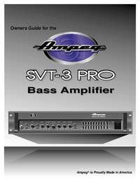 Service and User Manual Ampeg SVT-3 PRO