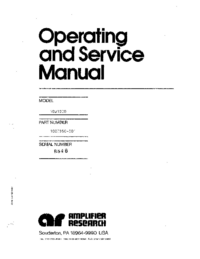 Service and User Manual AmplifierResearch 10W1000