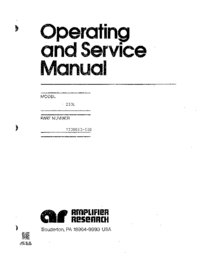 Service and User Manual AmplifierResearch 200L M5