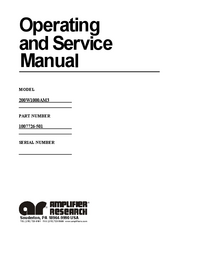 Serviço e Manual do Usuário AmplifierResearch 200W1000A M3