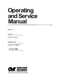 Service and User Manual AmplifierResearch 60S1G3