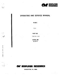 Service and User Manual AmplifierResearch 700A