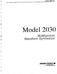 Manuel de l'utilisateur Analogic 2030