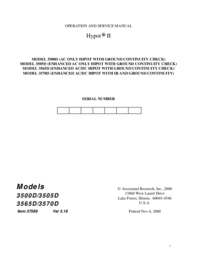 Service and User Manual AssociatedResearch Hypot II 3565D