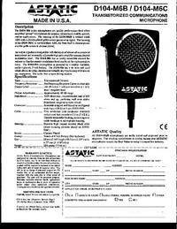 Manual do Usuário Astatic D104-M6B