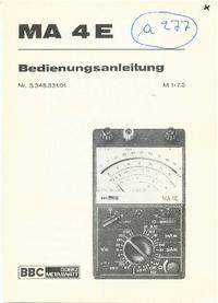 Bedienungsanleitung BBCGoerzMetrawatt MA 4E