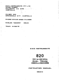 Service and User Manual BWD 820